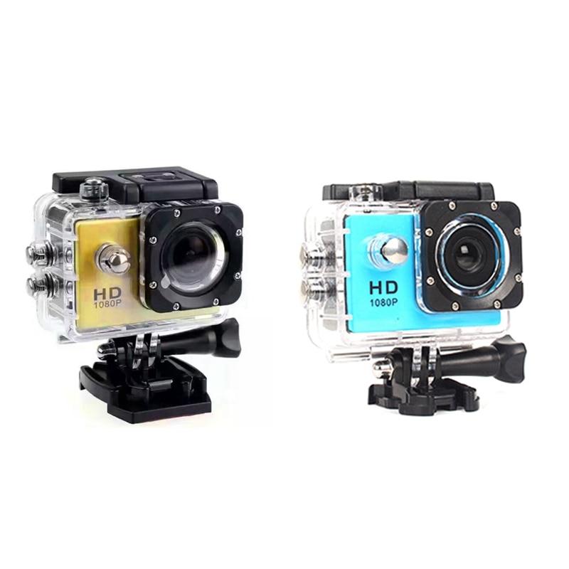 2 Set 480P cámara de vídeo para deportes de acción de motocicleta Dash Dvr Full Hd 30M impermeable, azul y dorado