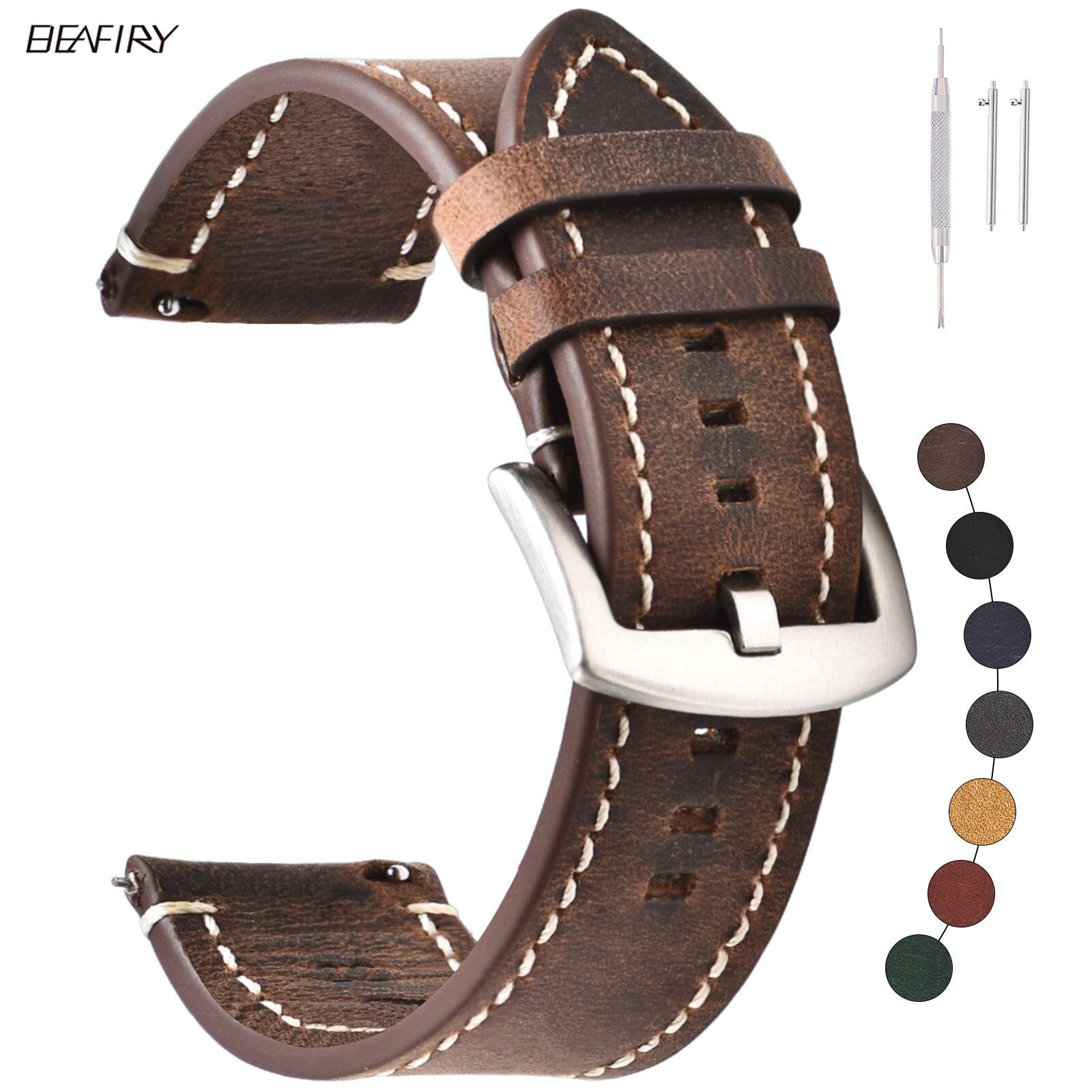 BEAFIRY-Correa de reloj Vintage para huawei, correa de cuero Crazy Horse de...