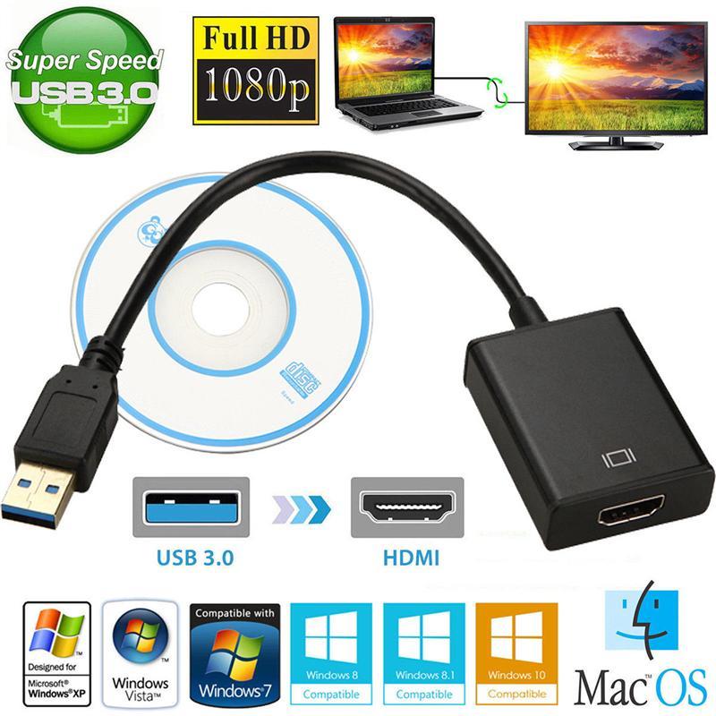 Видеоадаптер с USB 3,0 на HDMI, полный преобразователь 1080P для компьютера, ноутбука, внешняя видеокарта, линия преобразования
