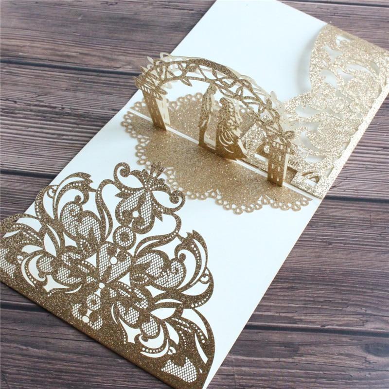 Light rose gold floral glitter invitation card wedding marriage tri-fold pocket customized printing supply