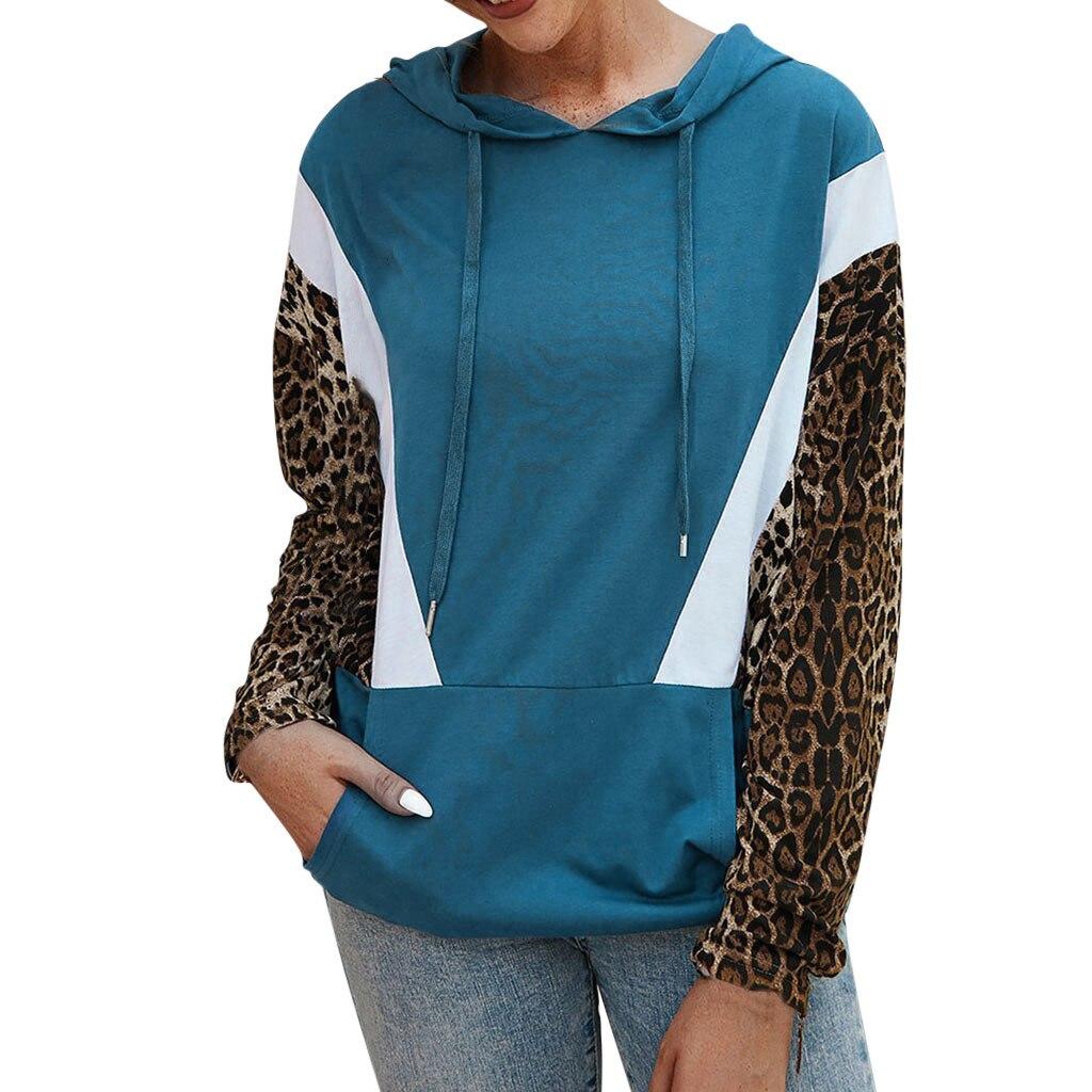 Casual de manga larga de leopardo de bolsillo Hoodies señoras mujeres con capucha Patchwork Sweatershirt con cordón con capucha camisetas