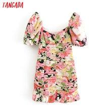 Tangada 2020 women flowers print slim dress backless puff short sleeve ladies vintage short dress vestidos 3H498