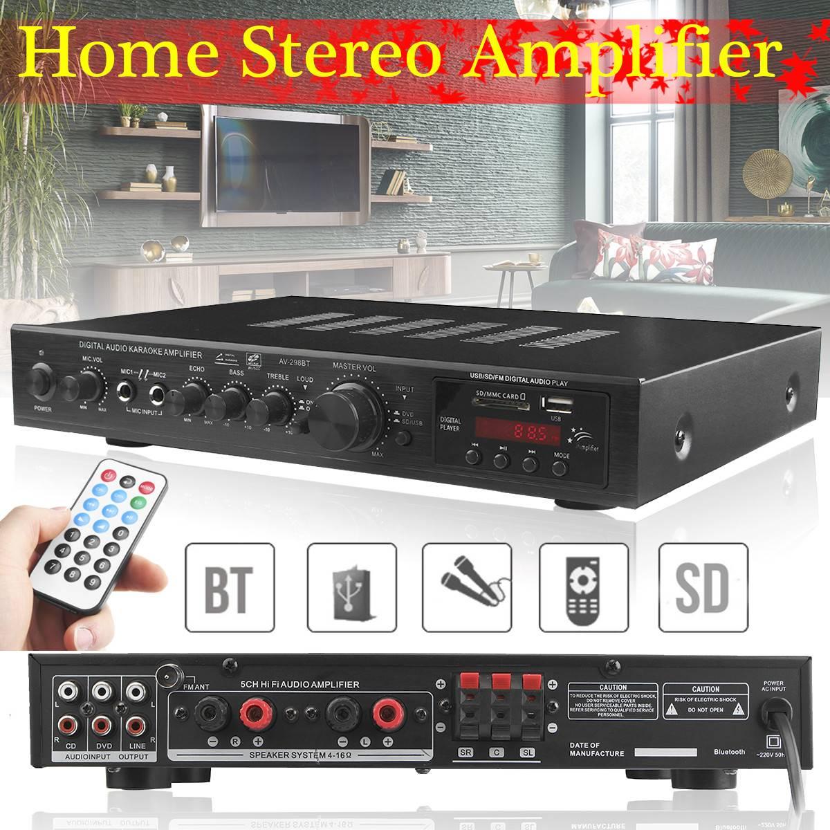 720W Amplificador estéreo de alta fidelidad 5 canales LED Bluetooth Karaoke Digital...
