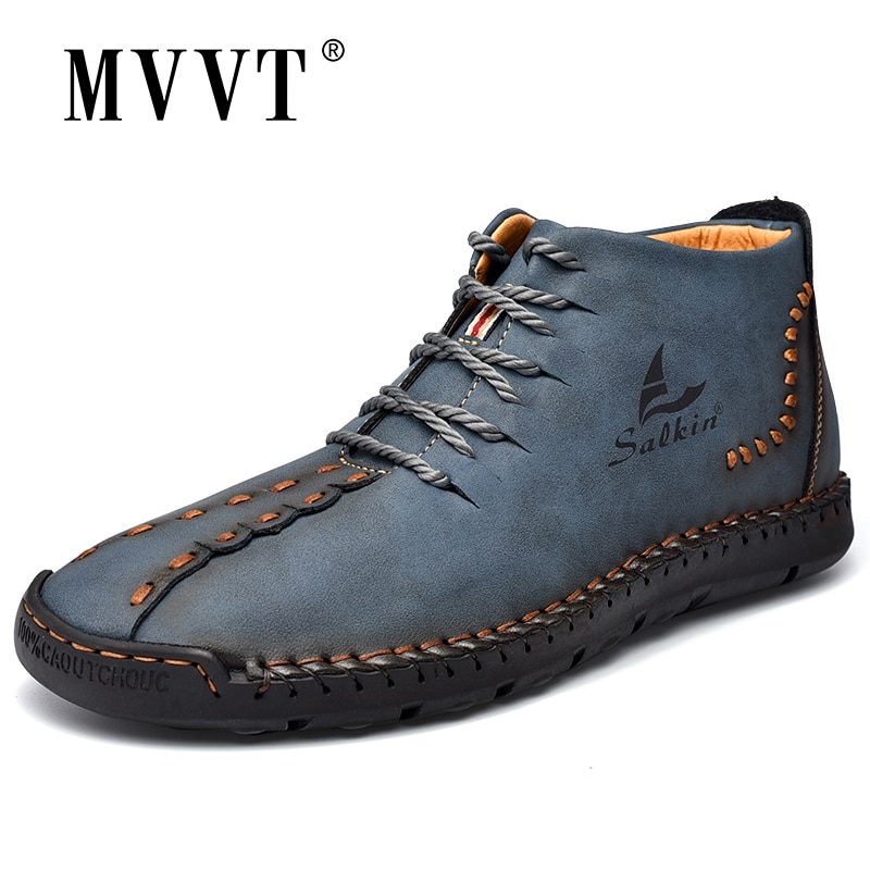 Hand-stitching Winter Men Boots Leather Patent Tooling Ankle Boots Blue Outdoor Autumn Hombres Botas Men Casual Leather Shoes