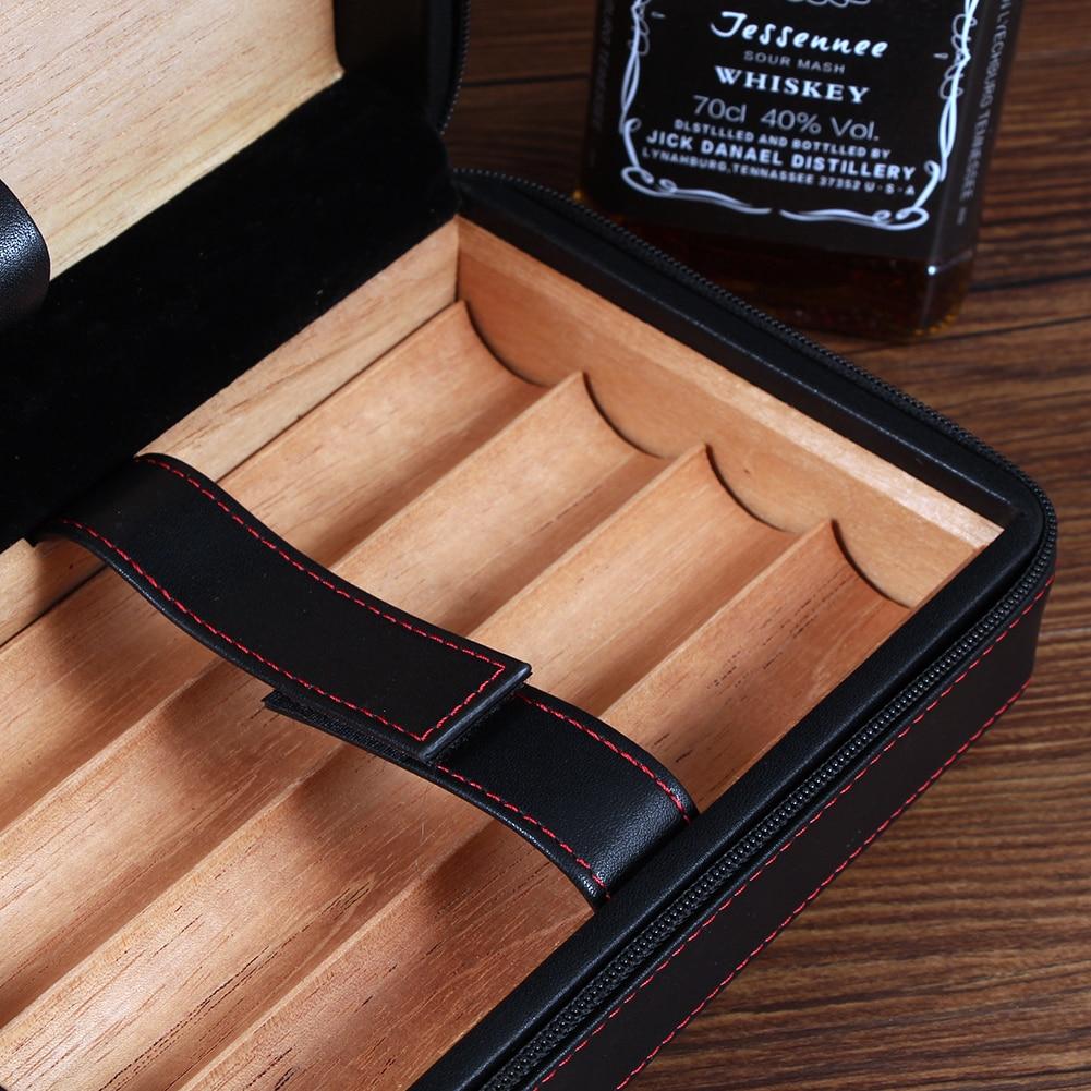 Galiner Leather Travel Cigar Humidor Case Cedar Wood Humidor Box W Humidifier Cigar Cutter Knife Jet Torch Lighter Gift enlarge