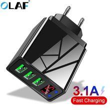OLAF 5V 3.1A affichage numérique chargeur USB pour iPhone chargeur 3 USB chargeur de téléphone mural de charge rapide pour iPhone Samsung Xiaomi
