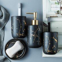 Ensemble daccessoires de lavage de salle de bain en céramique européenne distributeur de savon en marbre pompe bouteille