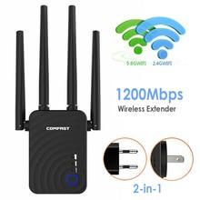 Comfast 1200 mbps 무선 wifi 익스텐더 wifi 리피터/라우터 듀얼 밴드 2.4 및 5.8 ghz 4 wi fi 안테나 장거리 신호 증폭기