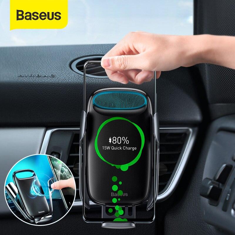شاحن سيارة Baseus, شاحن سيارة Baseus 15W Qi لاسلكي لأجهزة iPhone 11 XS ، شحن سريع لاسلكي مع حامل هاتف للسيارة