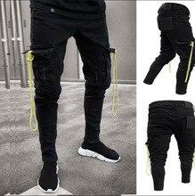 Men Black Cargo Jeans With Pocket Long Slim Fit  Denim Pencil Pants Combat Biker Casual Stretch Work Trousers Man Jeans Hombre