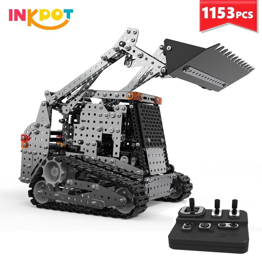 سيارة لعبة تعليمية للأطفال ، 1153 قطعة ، مجرفة مع جهاز تحكم عن بعد ، مجموعة مكعبات بناء معدنية ، 2.4G RC