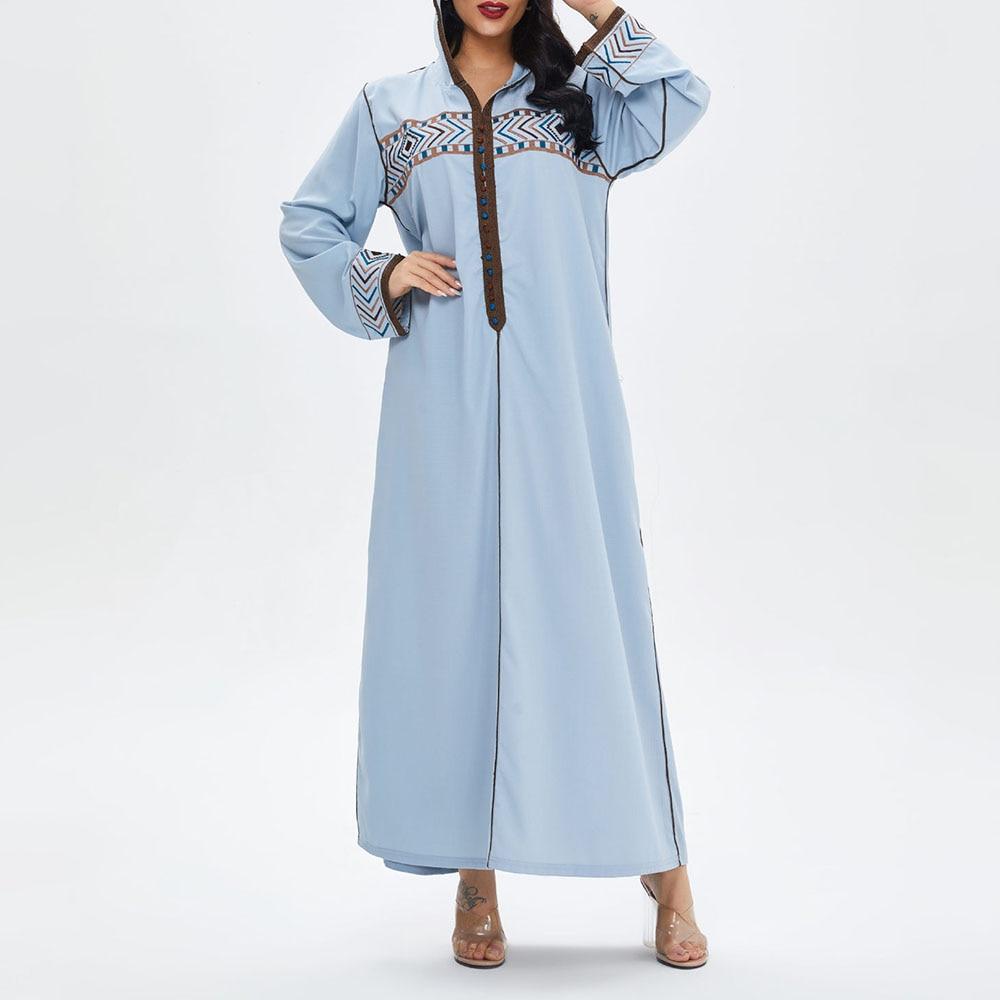 Vestido largo bordado de manga larga para mujer, caftán musulmán de Jellaba,...