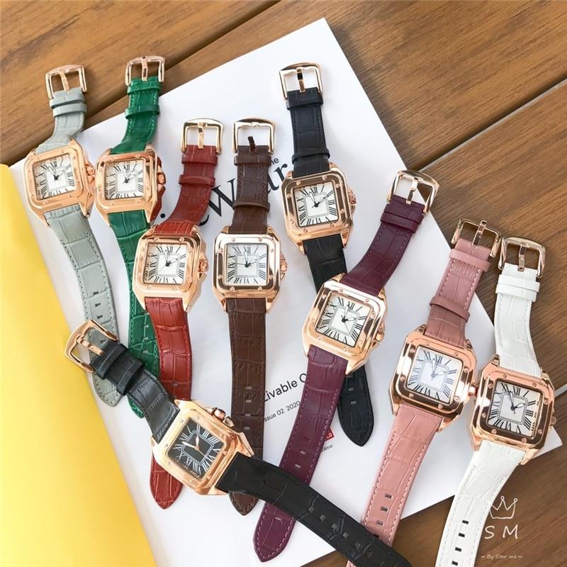 العلامة التجارية C شيك ساعات كوارتز ساحة ساعة جلد أصلي روز الذهب ساعات المعصم فستان ساعة للمرأة