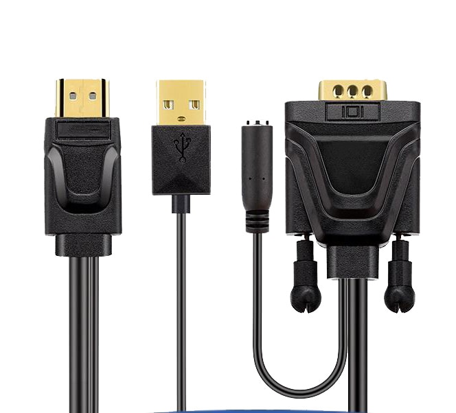 Adaptador HDMI HD 1080p compatible con VGA, convertidor de Audio y vídeo...