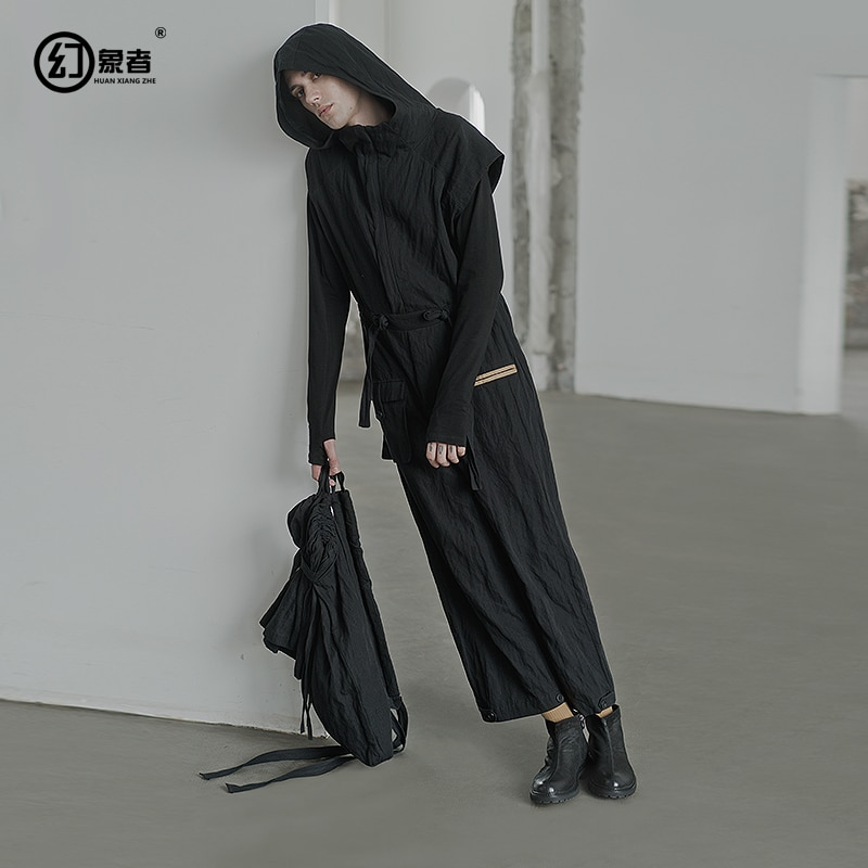 [HUANXIANGZHE] 2020 Autumn New Arrivals Men's clothing pants male Overalls Gothic Dark Punk style jumpsuit for men