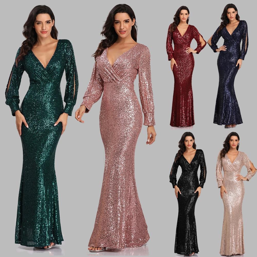 V-neck Mermaid Evening Dress Long Formal Prom Party Gown Full Sequins long Sleeve Galadress Vestidos Women Dresses 2021