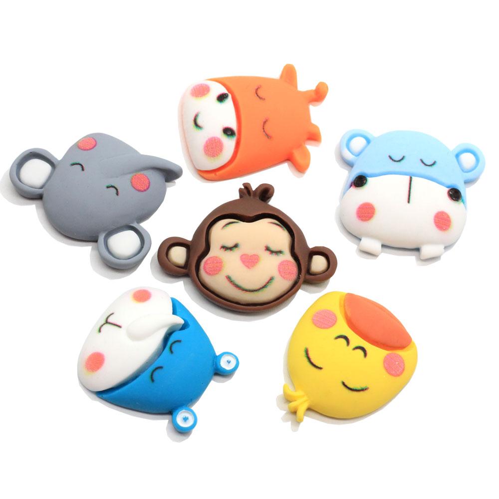 10/100 Uds adorables figuras planas de resina de animales de dibujos animados animales Personaje de Anime adornos de cabujones