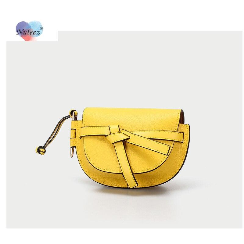 Nuleez-minicartera con lazo para mujer, bolso de mano de piel auténtica para chica, moderno bolso de mano para regalo