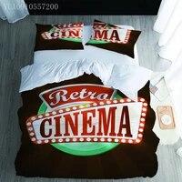 Parure de lit imprimee au cinema retro  ensemble de literie avec housse de couette  pour lit Double  une place  une place  une place  une place Double  un lit King  2 3 pieces