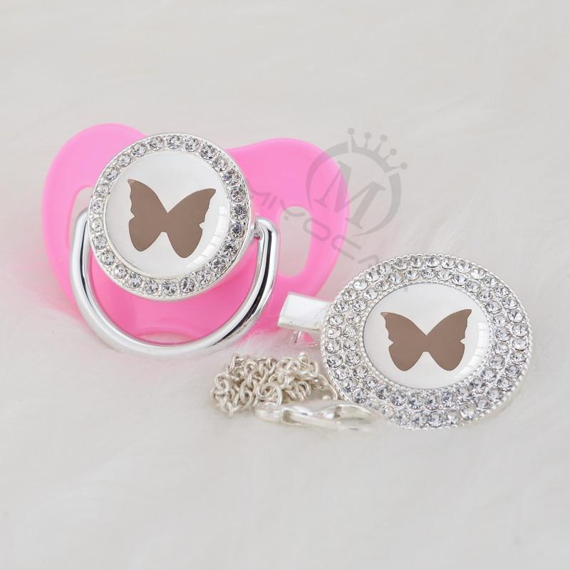 MIYOCAR preciosa mariposa de plata hermoso oro bling chupete y chupete clip libre BPA dummy bling diseño elegante GBF-1
