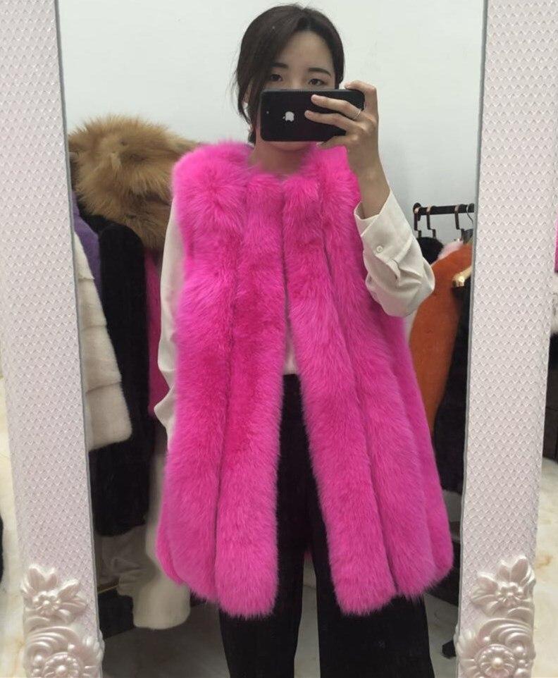 MLHXFUR 70cm largo caliente Rosa Blanco púrpura piel de zorro chaleco Chaleco de pelo real abrigo sin mangas de talla grande Vertical rayas 7XL muchos colores