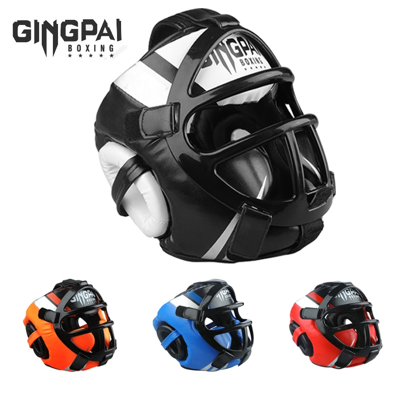 Grade PU leather Boxing Helmet head protectors adult Child Professional competition headgear MMA Mua