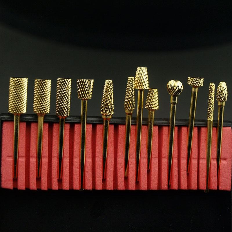 Easynail 12 tipos de bocados de broca de unhas de carboneto dourado rebarbas de metal broca bits cutícula para manicure acessórios de broca de unhas elétricas.