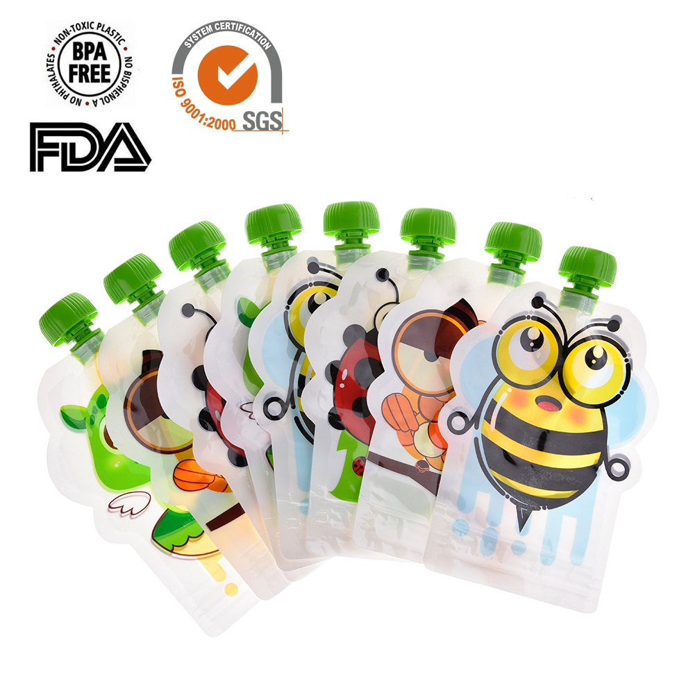 8pcs 148ml Baby Food Storage Pouch Portable BPA-Free Reusable Sealed Complementary Food Pouch Homemade Puree Pulp Storage Bag