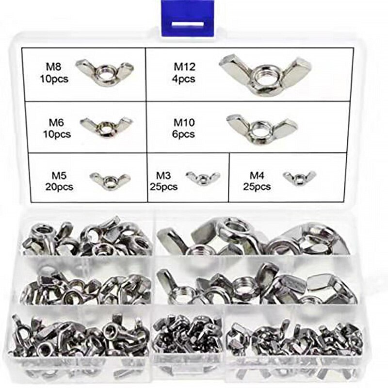 Tuerca de mariposa de acero inoxidable 304, tuerca de torsión manual M3 M4 M5 M6 M8 M10 M12 juego de tuercas de mariposa 100 grano