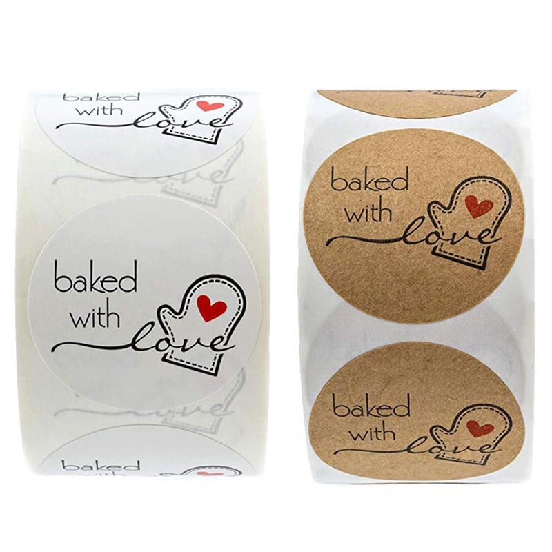 100-500pcs Kraft Paper Baked With Love Stickers Scrapbooking For Package Seal Labels Sticker Cute Handmade Stationery Sticker