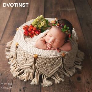 Dvotinst Newborn Baby Photography Props Bohemian Weave Posing Basket Round Tub Fotografia Accessories Studio Shoot Photo Props