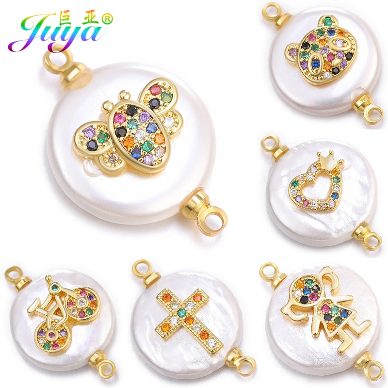 AliExpress - Juya DIY Making Earrings Bracelets Connectors Supplies Micro Pave Zircon Shell Charms Pearls Connectors Accessories Wholesale