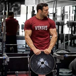 2021 New Bodybuilding Brand Men T-shirt Gyms Casual Short Sleeve O-neck Fitness Letter Print Cotton T-shirt Men Tees