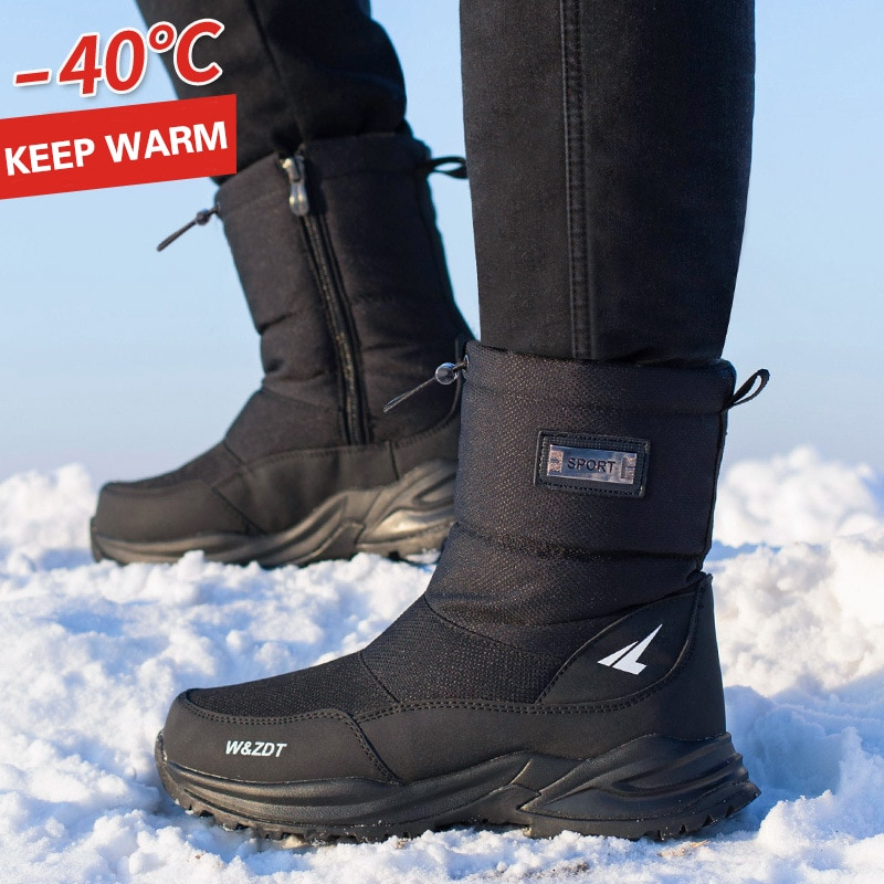 Bottes de neige imperméables et antidérapantes en fourrure épaisse pour homme, chaussures à plateforme avec fermeture éclair jusqu'à-40 degrés, taille 40, hiver, 2020