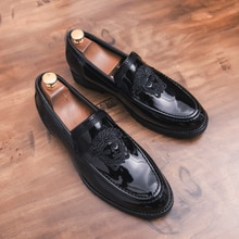 Men's shoes Leather Embossing Classic Fashion Luxury men shoes Wear-resistant Non slip Mans footwear