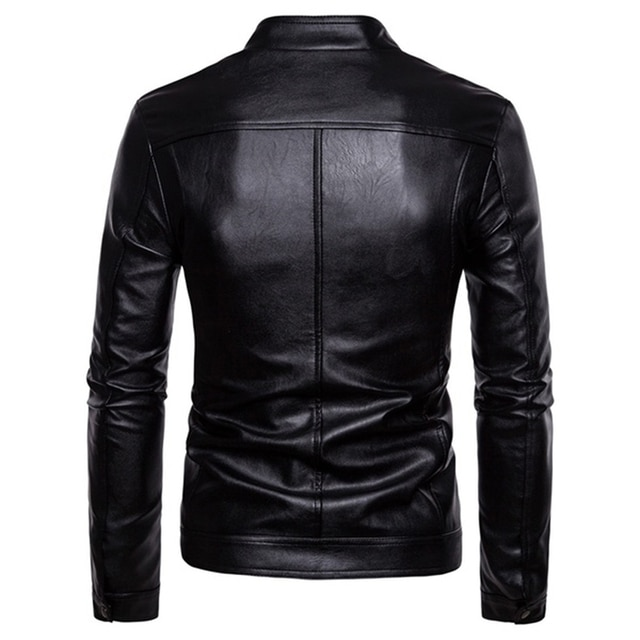 The New Spring And Autumn 2021 Men's Korean Version Slim-Fitting Stand-Up PU Leather Jacket Plus Size M-5XL 4