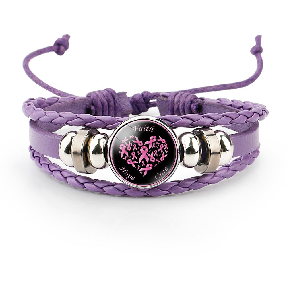 Купить с кэшбэком Breast Cancer Awareness Hope Bracelet For Women Pink Ribbon charm Braided leather Rope Wrap Bangle Fashion handmade Jewelry