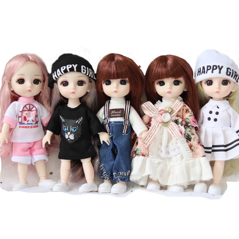 1:12 Doll Clothes For 16Cm BJD Doll With Headgear Cute Leisure Printing Best Gift For Our Generation