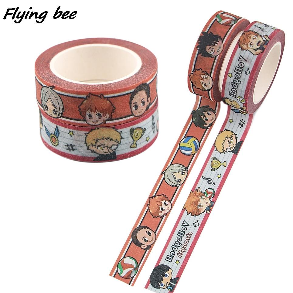 Flyingbee 15mmX5m аниме-волейбол для мальчиков мультфильм креативная матовая лента для поверхности бумажные наклейки для студентов канцелярские л...