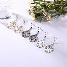 Sipuris Vintage Pattern Drop Earrings Candlelight Hollow Stainless Steel Earring For Women Fashion J