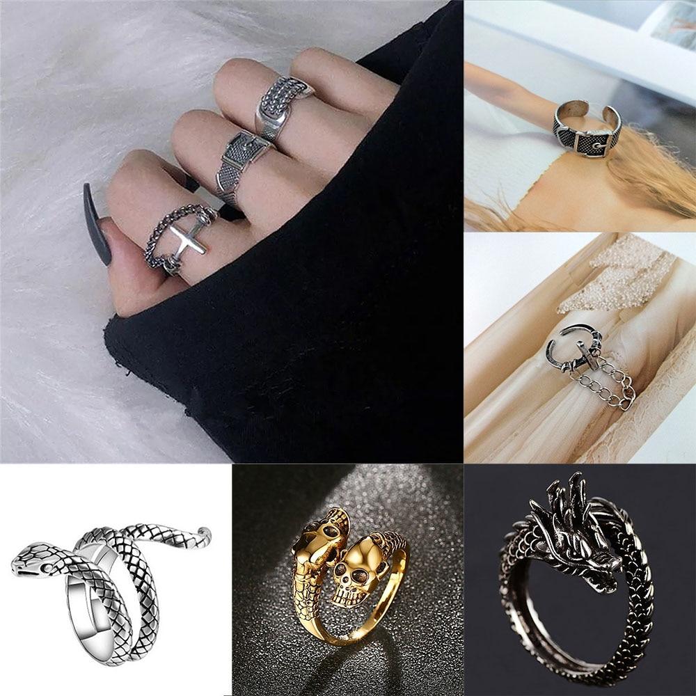 2020 punk hip hop adjustable black ring simple geometric cross multilayer goth ring man women dating