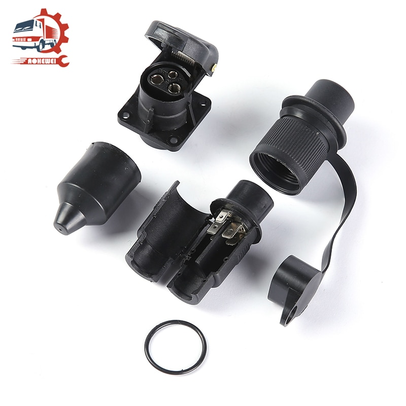 AOHEWEI 3Pin Trailer Plug Towing Socket Connector 12V Screw End 3 Way Male Female Truck Part for Electrical Caravan Vehicle
