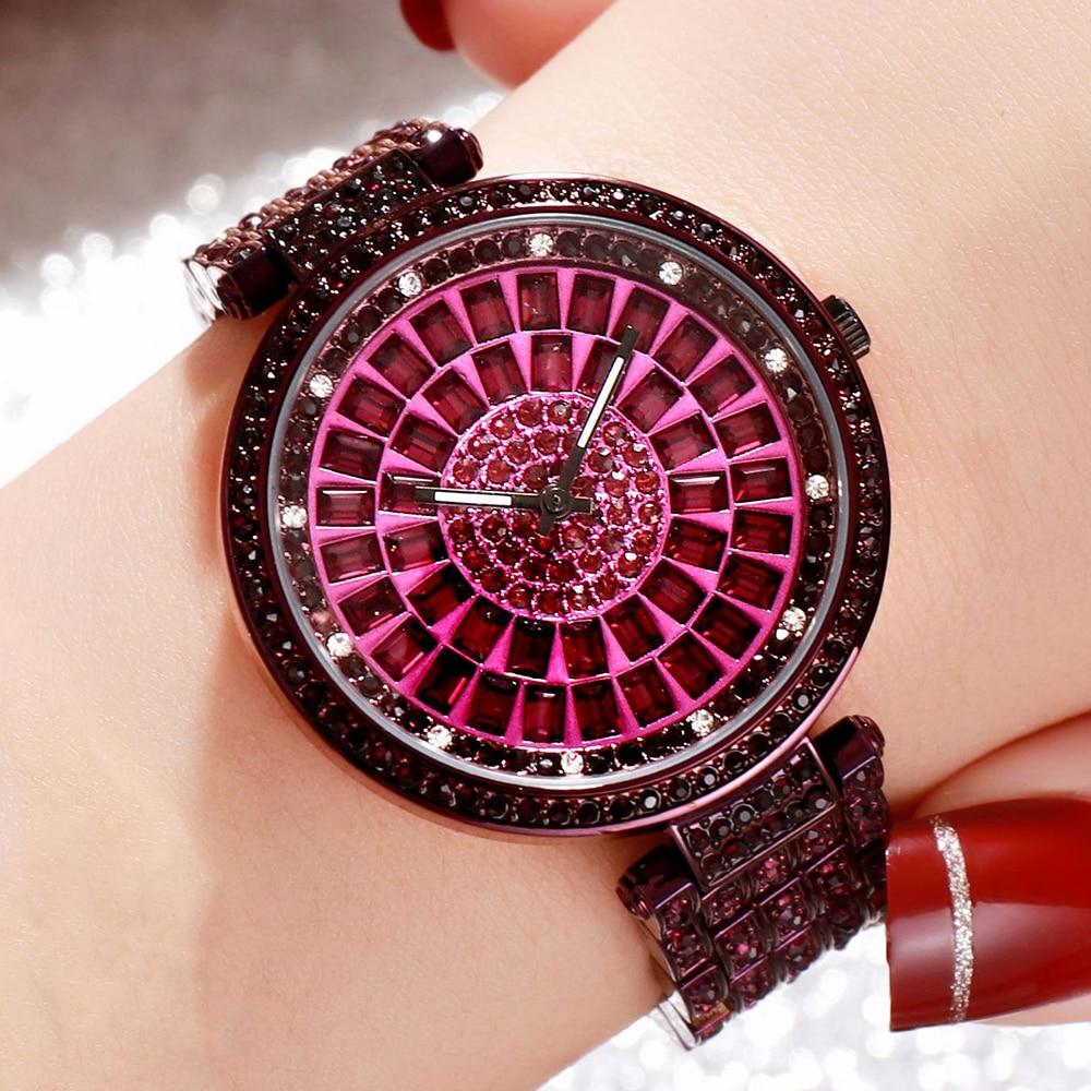GEDI Luxury Brand Woman Watches Fashion Full Rhinestones Analog Women's Wristwatch New Casual Ladies