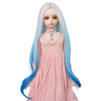 muziwig 13 14 bjdsd doll wigs doll accessories high temperature long curly hair gradient white blue wavy wig for dolls