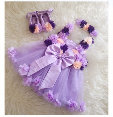 2020 New Fashion Kids Baby Dresses Outfits Colorful Print Floral Ribbon Tulle Casual Wear