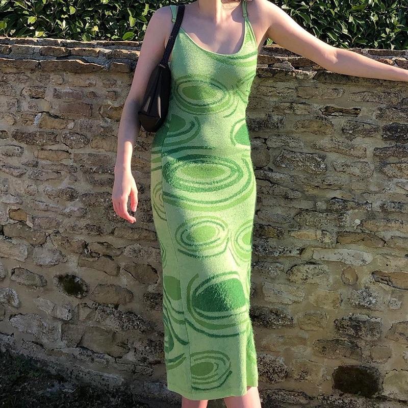 Paisley Print Knit Dress Women Green Y2K Summer Sexy Bodycon  Sleeveless Spaghetti Strap Beach Party Midi Dresses 2021