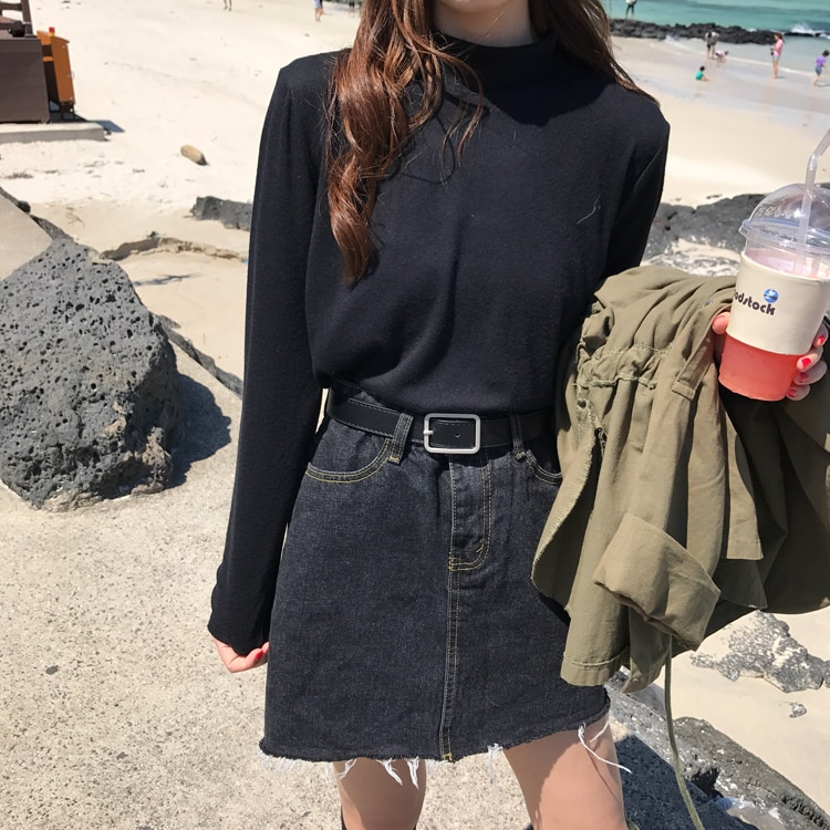 Half Turtleneck Bottoming Shirt Women's Spring and Autumn Slim Fit All-Match Long-Sleeved T-shirt Ko
