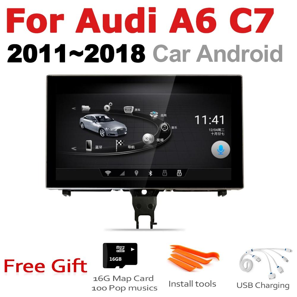 Tbbctee para audi a6 c7 2011 ~ 2018 au mmi rmc 2 din android gps carro jogar mlutimedia jogador de navegação estéreo navi android auto