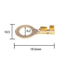 50 pz/lotto 6.2 Splice Terminali di Latta Placcatura Elettrica Cosse Sertir Per Cavo Altoparlante Per Auto M6 di rame Rotondo Cablaggio Compresse