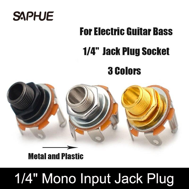 Mono enchufe para clavija de guitarra eléctrica, 3 colores, 1/4 pulgadas, salida...